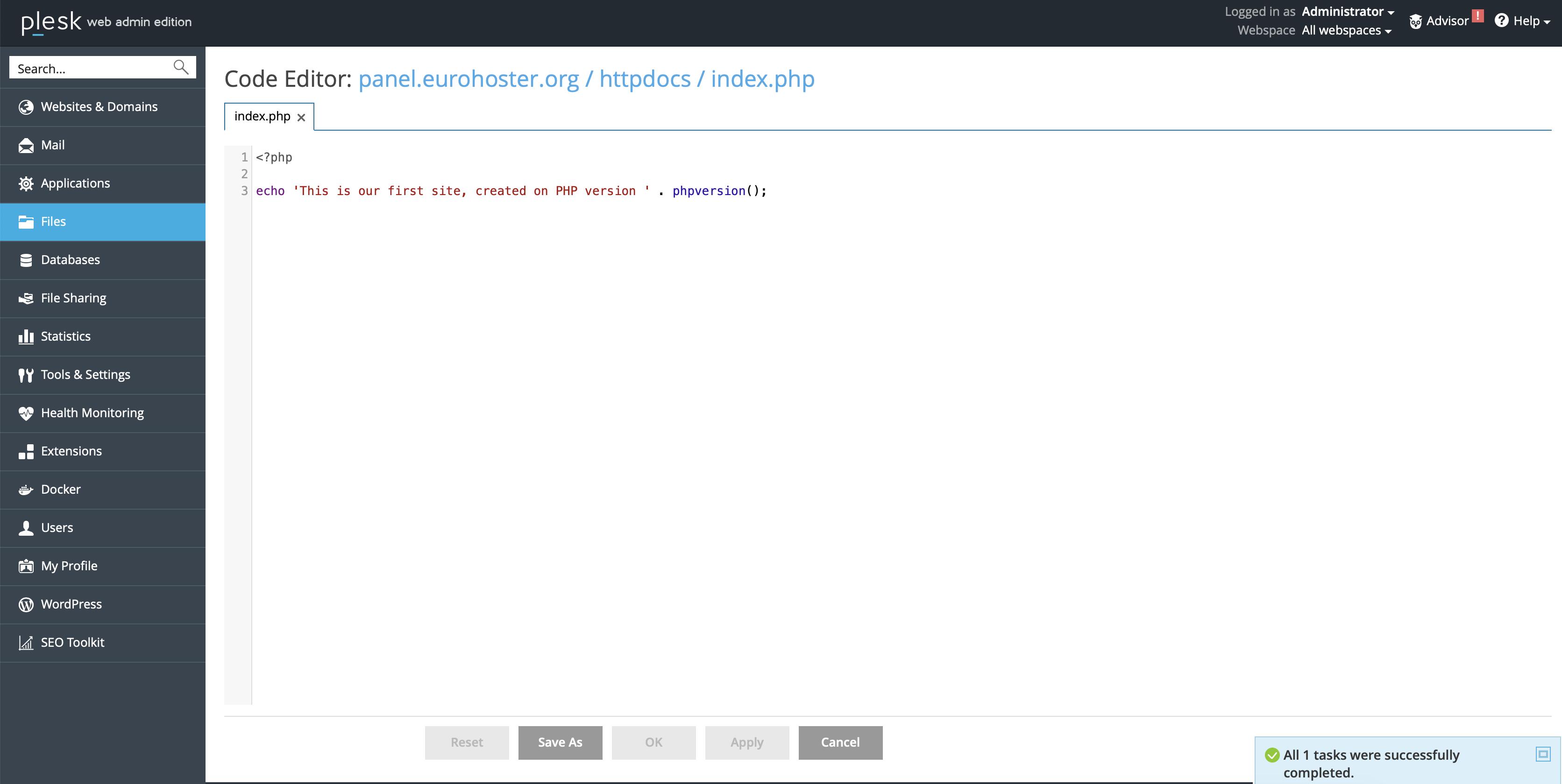 Plesk Code Editor